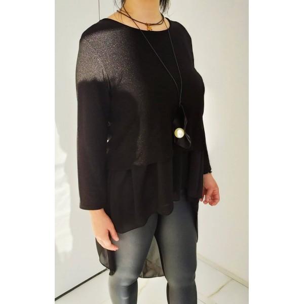 Μαύρη μπλούζα με ουρά