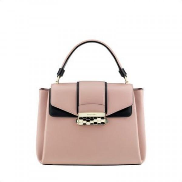 Τσάντα ροζ με χερούλι μαύρο